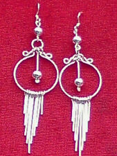 STERLING SILVER  70mm.x 20mm.DROP EARRINGS with HOOPS & HANGERS £12.95 NWT