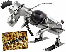 "BRUBAKER Wine Bottle Holder ""Skiing Moose"" - Metal - with Greeting Card"