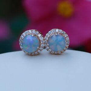 Natural Austraila solid white opal w/ 0.239cts diamond 18K rose stud earrings