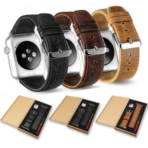 38/40/42/44mm Genuine Leather Wrist Band Strap For Apple Watch iWatch All Series