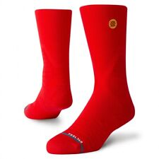 Stance Men Red Crew Performance Basketball Strike Game Day Pro Socks L 9-12