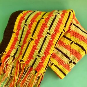 Vintage 70s Striped Afghan Blanket Yellow and Orange Retro Blanket - Fall Decor