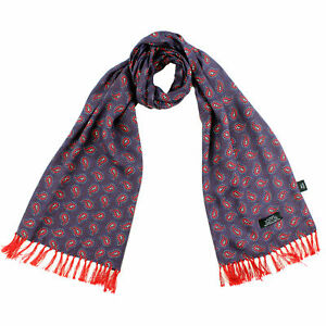 Tootal Navy & Red Paisley Rayon Scarf