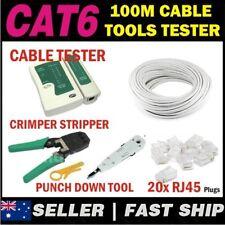 1 x 100m White Cat 6 Cat6 1000Mbps RJ11 RJ45 Network LAN Cable + Tools + Tester