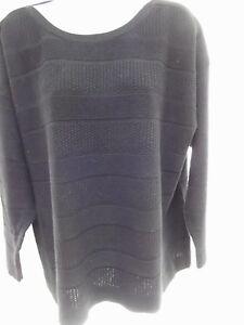 Coldwater Creek sweater 24 2X blk wool texture tonal stripe drop shoulder MINT