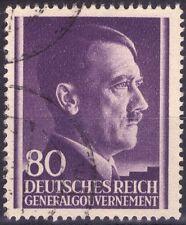 III° REICH - OCCUPAZIONE DELLE POLONIA - RARO FRANCOBOLLO DA 80 GROSCHEN - 1942