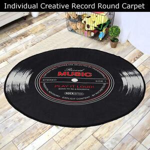 Retro Record Printed Soft Round Floor Mat Room Area Carpet Rug