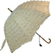 FiFi Frilly Beige With Tassel Vintage Stick Umbrella Wedding Parasol Bridal Gift
