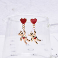 Women Cute Bear Heart Earrings Statement Drop Dangle Ear Studs Jewelry Gift MW