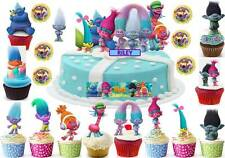 TROLLS Cup Cake Scene Topper Edible Wafer Birthday Party Stand up PERSONALISED