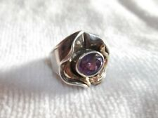 Hagit Gorali Sterling Silver and 14K Yellow Gold Amethyst Ring