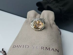 David Yurman Sterling Silver Infinity Ring 11x11mm with Morganite Size 6