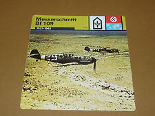 MESSERSCHMITT Bf 109 1937-1945 LUFTWAFFE AVIATION FICHE WW2 39-45