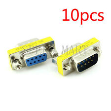 10 X 9 Pin RS232 DB9 Male to Female Serial Cable Gender Changer Coupler Adapter