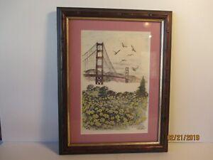 VINTAGE ALEC STERN SIGNED SEALED ETCHING - SAN FRANCISCO - FREE SHIPPING