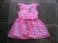 BNWT Girl's Pink & White Spots Sheer Polyester Summer Dress Size 2