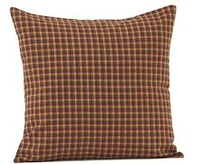 PATRIOTIC PATCH FABRIC PLAID PILLOW : PRIMITIVE RUSTIC RED BLACK ACCENT COVER