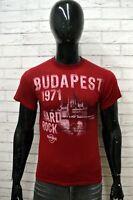 Maglia HARD ROCK Uomo Taglia S Maglietta Shirt Man Cotone Manica Corta Rosso