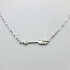 .925 Sterling Silver CZ Straight Sideways Arrow Necklace