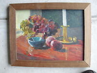 Vintage Oil Painting Still Life Candle SIGNED DEPUTY