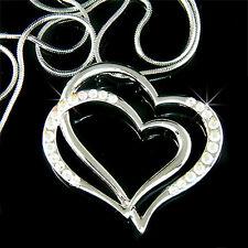 w Swarovski Crystal Bridal Wedding Valentine Love Double Heart Pendant Necklace
