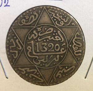 Morocco 5 Dirhams (1/2 Rial) AH1320 (1902) RARE Silver Coin-Y#21 -Combined S&H