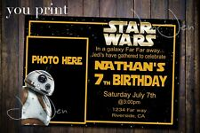 Star Wars Bb8 You Print Party Invitation