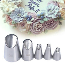 5Pcs Cake Icing Piping Nozzles Tips Rose Flower Cream Pastry Decor Bakeware NEW