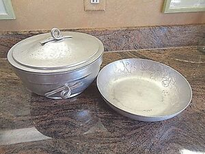 Collection of 2 Vintage Aluminum Serving Pieces...