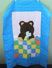 "Vintage Handmade Baby Crib Quilt Blanket - Teddy Bear Napping - 54"" x 38"""
