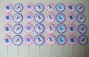 32 PUPPY DOG PALS Pink/Purple Personalized cupcake toppers birthday party favor