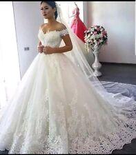 à manches courtes blanc/ivoire Off épaule en dentelle robe de bal robe mariage