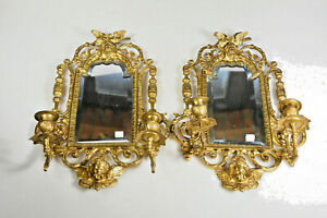 Antique French large bronze marked Satyr devil putti head mirror sconces candle