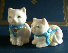 White Ceramic Cats with Ribbons Salt and Pepper Shakers; Vintage shaker set