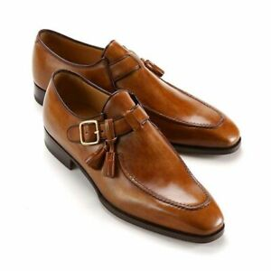 Single Monk Strap Genuine Leather Boots Handmade Brown Dress-Formal Men Shoes