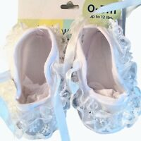 Newborn Infant Baby Girl White Crib Shoes Soft Sole Anti-slip Size 0-3 Months