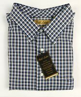 NWT Gold Label Roundtree Yorke Long Sleeve Brown Blue Check Men Shirt 3XLT NEW