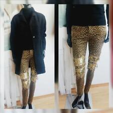 ORIGINAL: Damen Stretch Jeans Skinny Röhre Nieten Fetzen Leo Leopard Pailletten