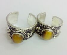 Tiger eye Stone Bead old Tibet Silver Ring Adjustable Religion one ring