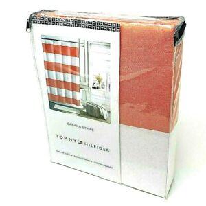 "Tommy Hilfiger Fabric Shower Curtain Cabana Stripe Coral & White Beach 72""x72"""