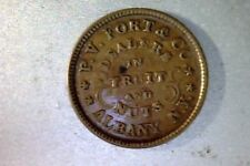 Rare 1864 Civil War Store Card, Albany Ny- P.V.Fort&Co, Fruit +Nuts, Xf+