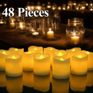 Set of 48 Realistic Flameless  Flickering Bright LED Tealights Candles Party AU