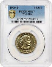 1979-P SBA $1 PCGS MS67 (Wide Rim Near Date) Susan B. Anthony Dollar
