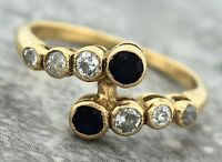 Ladies Antique 1920s Art Deco 9K Yellow Gold Blue Sapphire Diamond Band Ring