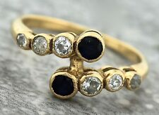 Ladies Antique 1920s Art Deco 9K Yellow Gold Blue Sapphire Diamond Band Ring