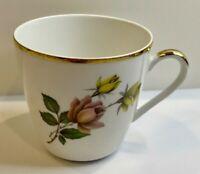 Porzellan Porcelain Manufaktur Hanvel Bavaria Demitasse Rose Flower Tea Cup