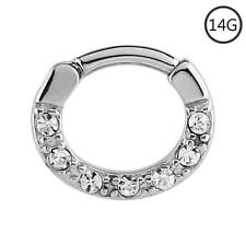 "Septum Clicker Hinged Steel Nose Ring Hoop Clear CZ 5/16"" 8mm 14G"