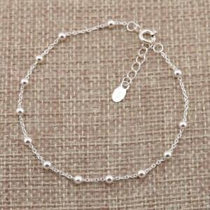 925 Sterling Silver Beaded Beads Satellite Layering Chain Bracelet Jewellery