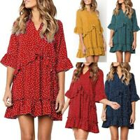 Women Elegant Polka Dot Dress Flare Sleeve V Neck Asymmetrical Ruffles LayeL4S5