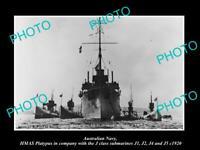 POSTCARD SIZE PHOTO OF AUSTRALIAN NAVY HMAS PLATYPUS & J CLASS SUBMARINES c1920